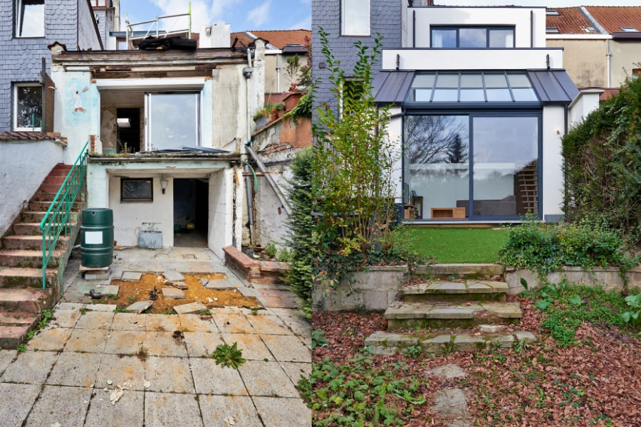 Before and after shot of rear double storey renovation on mid link property in Swansea including large double glazed patio doors leading on to new landscaped garden