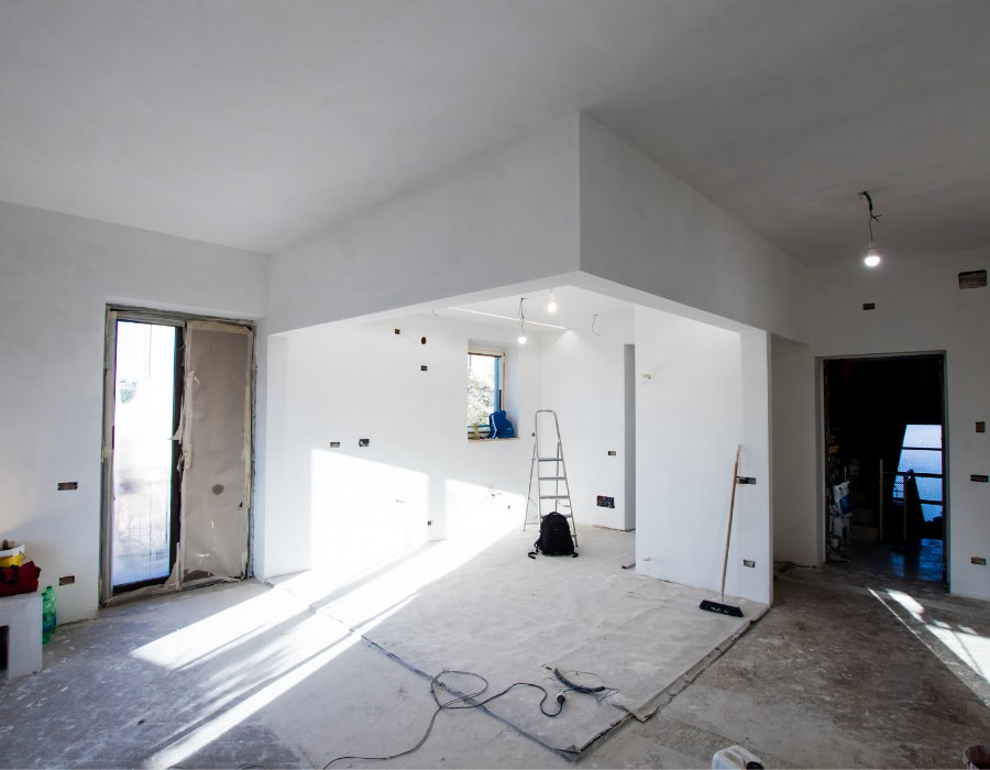 Kitchen renovation and garden room with small patio doors walls all emulsioned white and ready for 2nd fix.