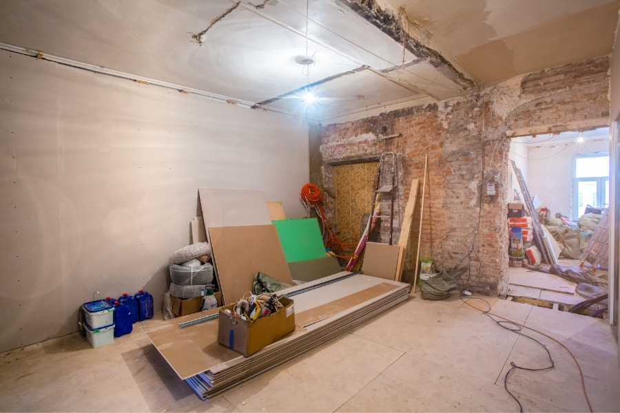 New extension for renovation project in Swansea. Knocked through to existing house with new plastered walls and flooring