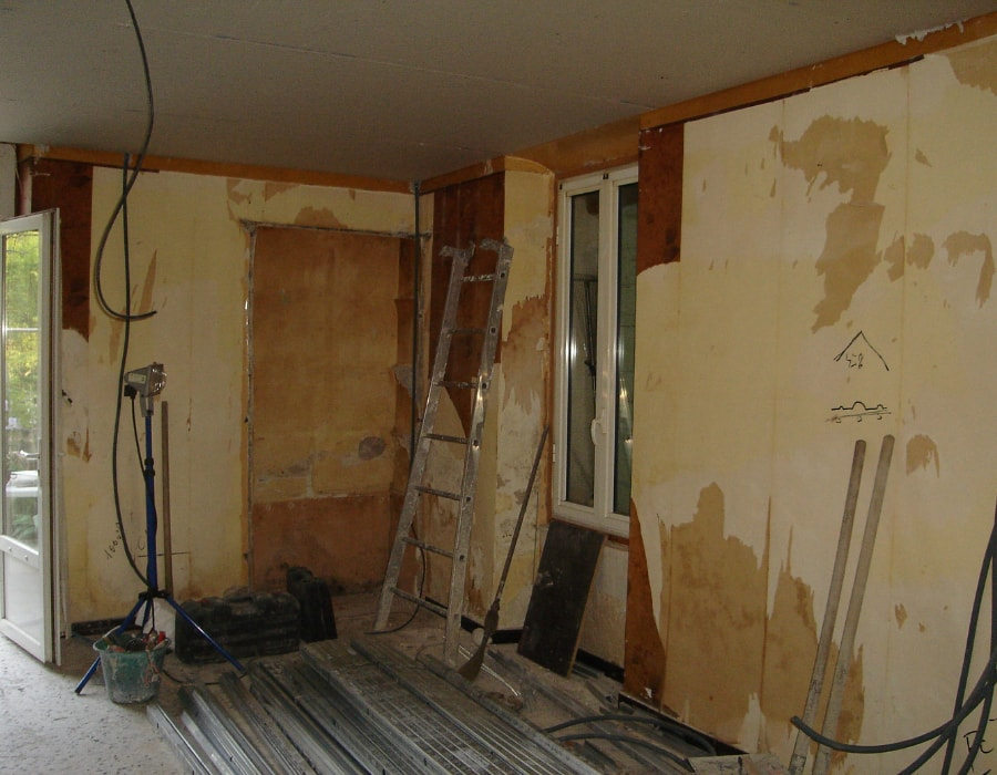 Kitchen stripped and ready for renovation in Swansea
